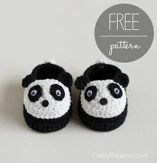 free crochet pattern u2013 panda baby booties u2013 croby patterns