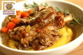 cuisine polenta cooked braised pork shank polenta