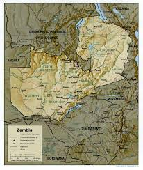Picture Of Map Map Of Zambia Relief Map Worldofmaps Net Online Maps And