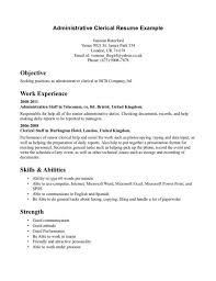 administrative clerk resume sample displaying objective and work