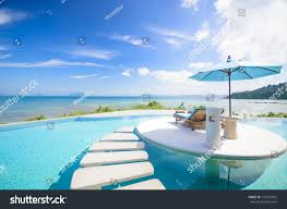Clip On Umbrellas For Beach Chairs Beach Chair Umbrella On Private Pool Stock Photo 131962505