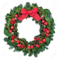 christmas wreath with red bauble decorations and bow holly