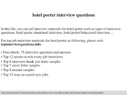 casino porter sample resume hotel porter interview questions