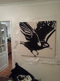 painting of a blackbird from fat freddy s drop on canvas using painting of a blackbird from fat freddy s drop on canvas using a projector made the frame and stretched the canvas too