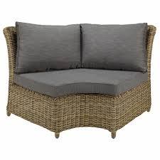 canapé angle rond angle rond de canapé de jardin en résine tressée et coussins gris