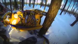 skidoo mxz600 snowmobile crash into tree