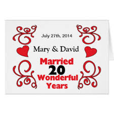 20 year wedding anniversary 20 year wedding anniversary greeting cards zazzle