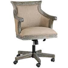 linen desk chair uttermost kimalina silver leaf linen swivel office chair 6k335