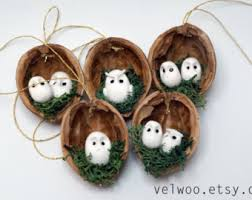 ornaments walnut shell tree by velwoo on etsy