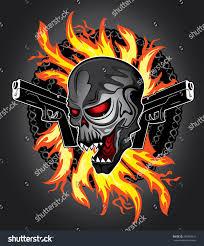 halloween horror background horror zombie halloween skull glock pistols stock vector 267866411
