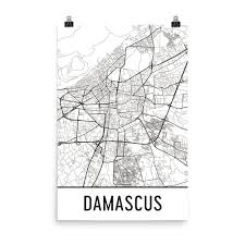 Damascus Syria Map by Damascus Syria Street Map Poster Wall Print By Modern Map Art