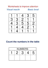 visual macth numbers basic level attention worksheets