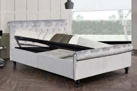 King Ottoman Lambeth Grey Velvet Ottoman Sleigh Bed Frame King Size