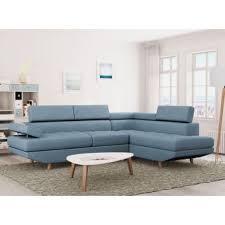 canap d angle bleu 330 sur canapé d angle style scandinave 4 places tissu bleu linnea
