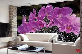 murals purple orchid branch on background of raindrops wall murals purple orchid branch on background of raindrops