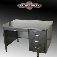 Small Tanker Desk Steelcase Single Pedestal Tanker Desk Vintage Steel Desk