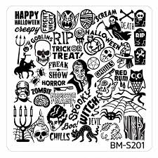 halloween square nail art stamping plates bm s201 ghoulishly