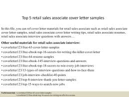 sample cover letter for retail sales associate