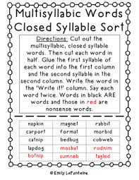 words closed syllable sort phonics with freebie