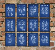 Wall Blueprints Lego Patent Prints Set Of 12 Lego Wall Art Posters Lego Home
