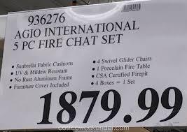 Propane Fire Pit Costco Agio International 5 Piece Woven Fireplace Chat Set Costco Weekender