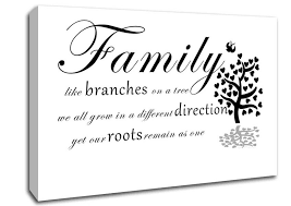 fancy canvas wall quotes with family like branches on a tree