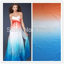 wedding dress lk21 orange white blue 100d chiffon fabric for clothing shade gradual