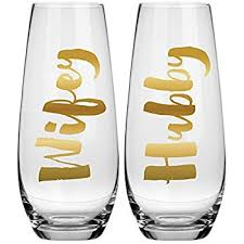 newlywed gift hubby chagne glass set 10 oz stemless