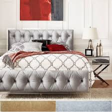 Velvet Tufted Headboard Queen by Anya Queen Size Velvet Button Tufted Acrylic Headboard And Bed By
