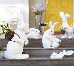easter bunny decorations white sisal bunny decor pottery barn kids