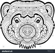 monochrome drawing wolverine patterns coloring stock vector