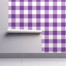 buffalo check in purple wallpaper by domesticate roostery home decor