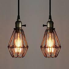 2 pendant light fixture pathson industrial retro metal cage loft bar hanging ceiling pendant