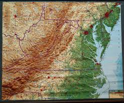 United States Map Wall Art by Mid Atlanti U S Virginia U0026 West Virginia Large Extreme Raised