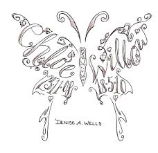 a butterfly design with names and