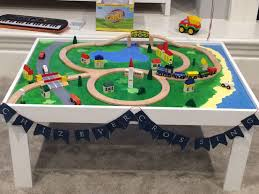 Make Wood Toy Train Track by Diy Train Table Including Instructions For Screwing In Tracks