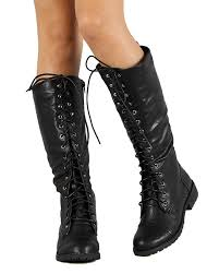 shoes nature ac75 leatherette lace up knee