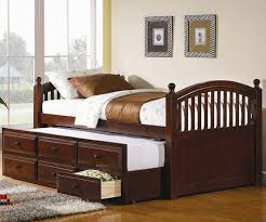 double trundle bed bedroom furniture cherry twin bed with storage arch captains trundle cappuccino