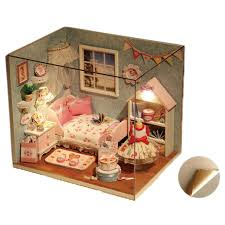 diy wooden doll house 3d handmade miniature wood dining room with