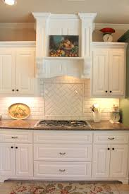 creative kitchen with chevron subway tile backsplash also floral