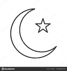 crescent moon linear icon ottoman flag thin line illustration