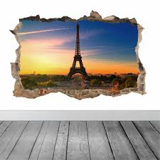 eiffel tower hole in the wall feature colour wall sticker decal eiffel tower hole in the wall feature colour wall sticker decal poster vinyl in 4 sizes