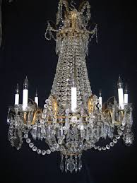 Crystal Chandelier Set Of Three Antique French Louis Xvi Style Gilt And Crystal