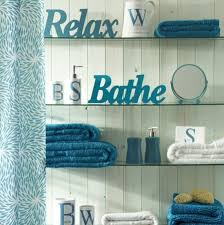Blue And White Bathroom Accessories by Cool Teal Bathroom Glass Shelves And White 3 D Words Dream