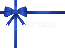 white blue ribbon bright blue ribbon bow illustration on white background present