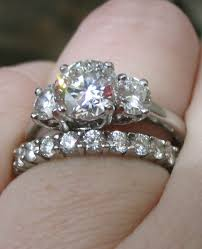 stone bands rings images Pics of three stone ring wedding band together pricescope forum jpg&a
