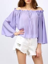 lavender blouses 2018 ruffle the shoulder blouse light purple l in blouses