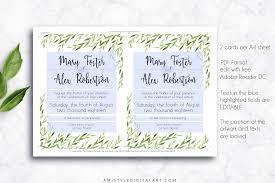 printable wedding invitation greenery amistyle digital art