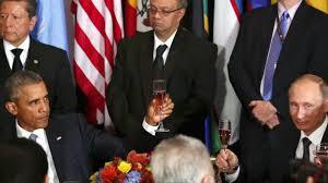 Obama Putin Meme - obama and putin share a toast at the un chicago tribune