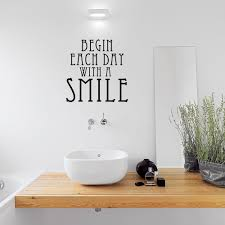 Quote Decals For Bedroom Walls Begin Each Day With A Smile Wall Quote Decal